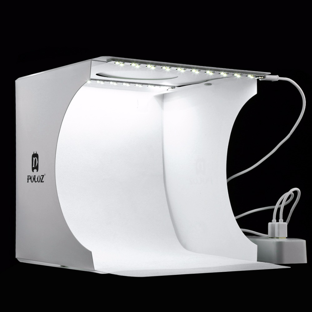 Portable 20*20cm Mini plegable estudio difuso caja de luz suave 2 LED luz negro blanco fotografía Fondo foto estudio caja Collar con foto personalizada con imagen grabada personalizada y colgante de joyería para mujer