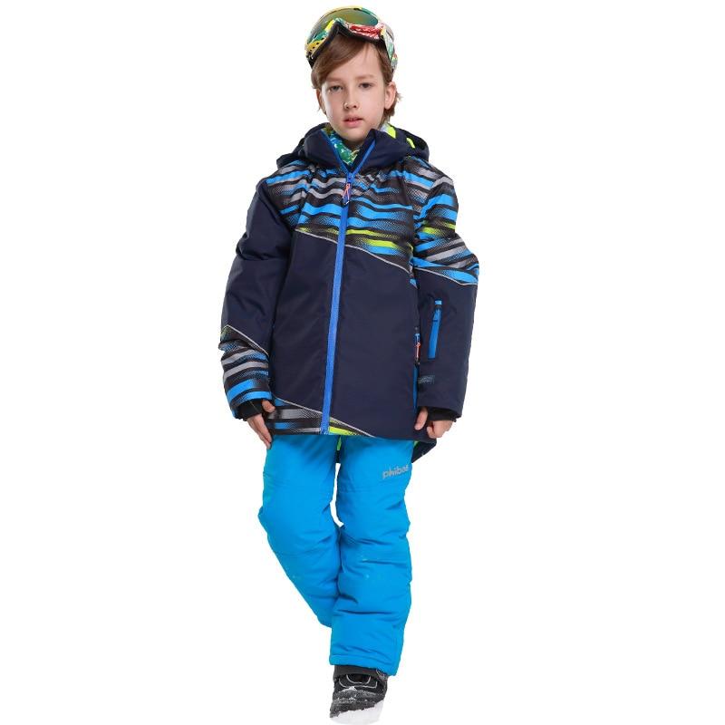 Warm Winter Boys Ski Suit Set Outdoor Waterproof Windproof Children Ski Jacket and pants Kids Skiing Snowboard Suit winter clothing kids ski jacket pant boys girls super warm skiing snowboard suit children outdoor sport windproof waterproof set