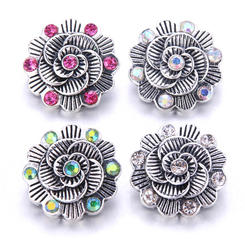 10pcs/lot 2018 new High Quality Rhinestone Snap Button Jewelry 18mm Snap Button Charms Jewelry Fit Bracelet Bangles Snap Jewelry snap button jewelry