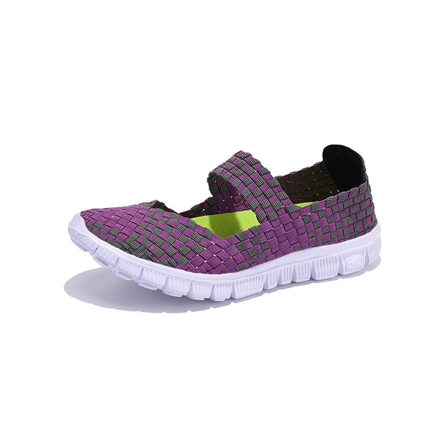 Women Shoes 2018 Summer Breathable  Lady's walking Shoes Lace up Girls Handmade Women Woven fitness  Shoes