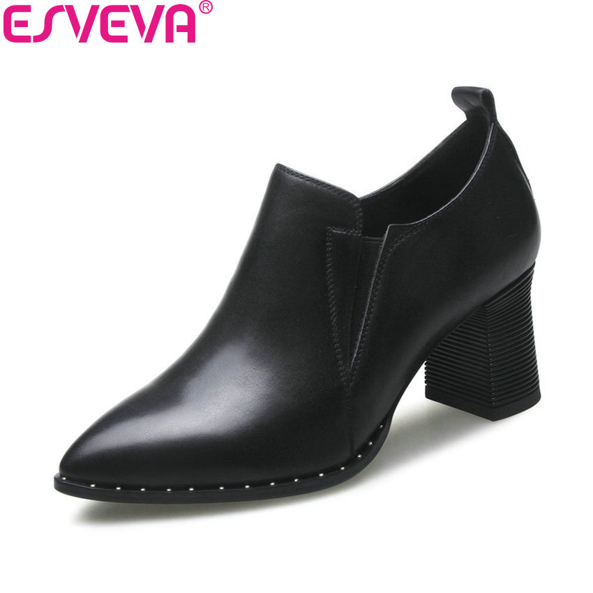ESVEVA 2018 Women Pumps Slip on Sewing Western Style High Heels Pointed Toe Cow Leather PU Square Heels Ladies Shoes Size 34-42 2017 shoes women med heels tassel slip on women pumps solid round toe high quality loafers preppy style lady casual shoes 17