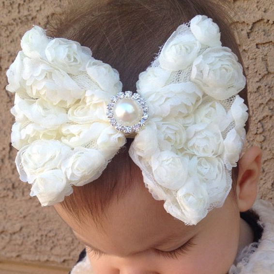 Yundfly Vintage Girls Pearl Double Layer Rose Flowers Bowknot Headband Headwear Children Kids Hair Band Head Piece Accessories