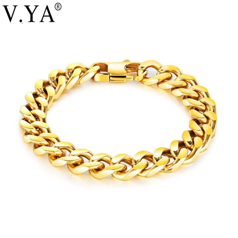 V.YA Black Sliver Gold Color Bracelet Bangle For Men Women Luxury Wedding Bridal Jewelry Link Chain Christams Bracelet Drop Ship