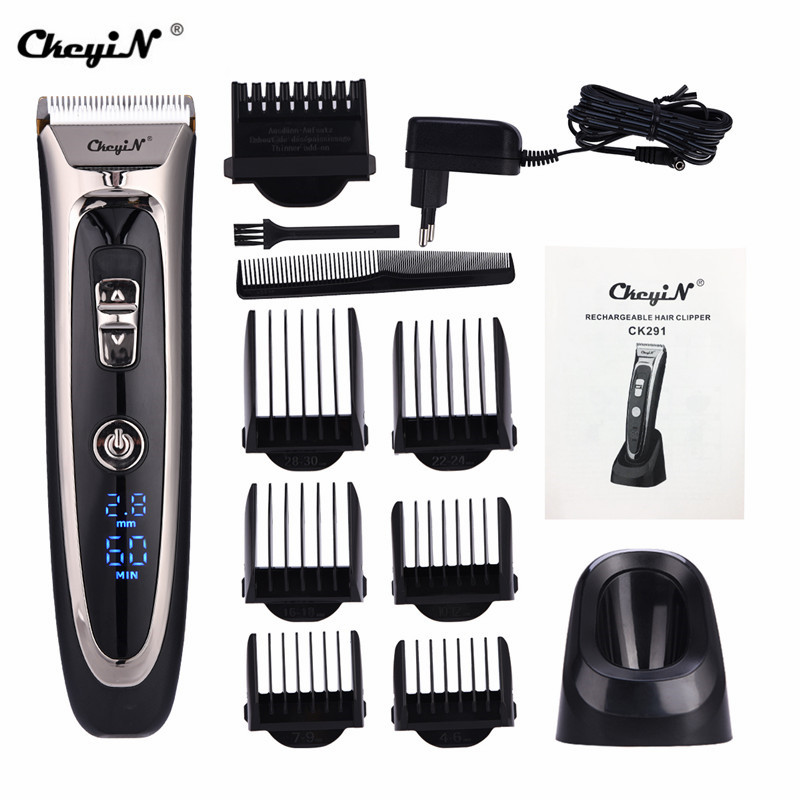 Professional Hair Clipper Rechargeable Digital Electric Hair Trimmer For Men Cordless Hair Cutting Razor Barber Machine LED 4142