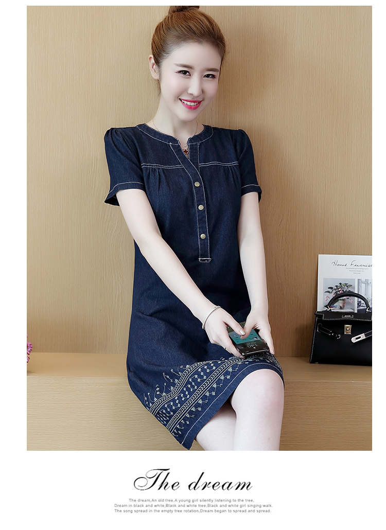 2b71f5de1937c V-neck Denim Dresses Women Plus Size 5XL Embroidery Thin Short Sleeve  Fashion Elegant Jeans Dresses Female