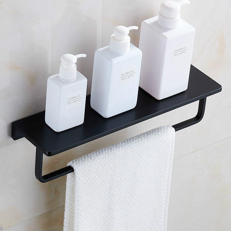 New black racks Bathroom space aluminum towel rack towel ring towel bar bathroom shower rack lo828148