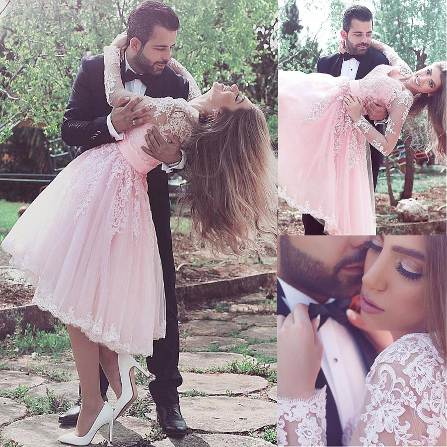 Exquisite Tulle V-neck Neckline Tea-length Ball Gown Prom Dress With Lace Appliques Long Sleeves Pink Evening Gowns