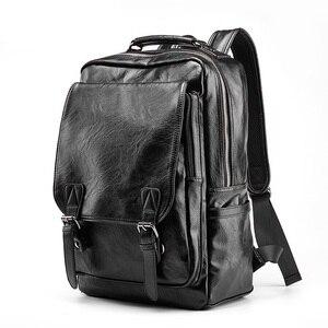 Image 2 - Nowy luksusowy plecak szkolny wodoodporny skórzany plecak na laptopa mężczyźni podróż nastoletni uczeń plecak torba mężczyzna Bagpack Mochila