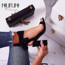 Womens Summer Footwear 2019 New Arrival Thick High Heels Color Matching Sandals Leopard Bandage Suede Sexy Hollow Shoes