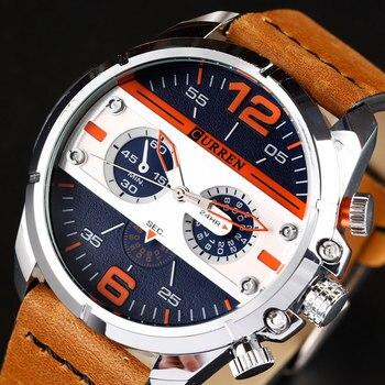 c43b82d13aac 2018 CURREN nuevo relojes de los hombres de la marca de lujo reloj militar  ejército hombre cuero pulsera reloj de cuarzo Masculino 8259