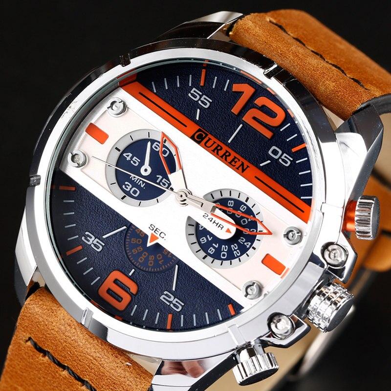 2018 nuevos relojes CURREN, reloj militar de marca de lujo para hombres, relojes de pulsera deportivos de cuarzo de cuero para hombre, reloj Masculino 8259
