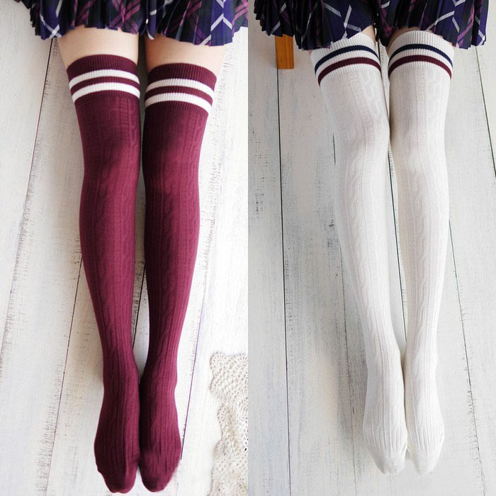 New 2 Colors Womens College Striped Wind Thigh High Stockings Over The Knee for Girls 60cm in Stockings from Underwear Sleepwears