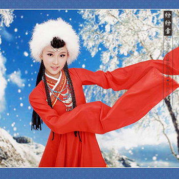 Fen Fen Xue Minority Group Zang Tibetan Costume Red Costume for Little Girl Hanfu Costume Stage Show Dance Costume