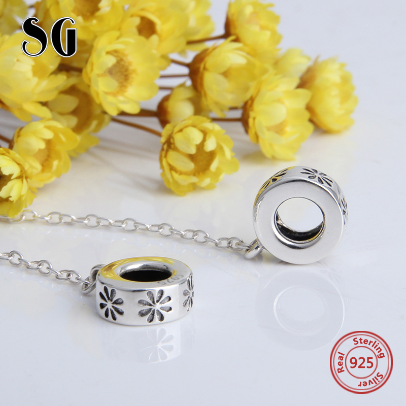 SG flower chain diy Sterling Silver 925 Beads Fit Original pandora Charm Bracelets Pendant for jewelry making gifts 2018