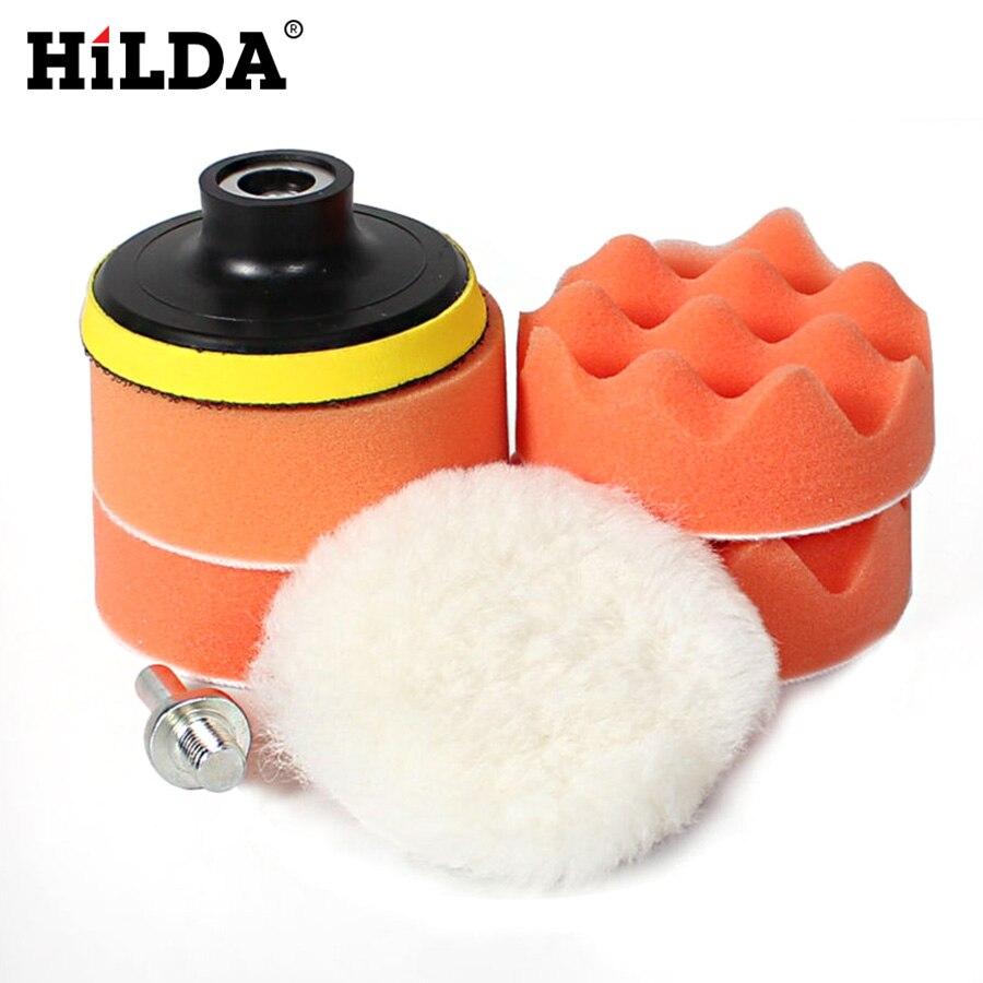 цена на HILDA 7pcs 3 Inch Car Polishing Pad Set Polishing Buffer Waxing Buffing Pad Drill Set Kit Polishing Sponge Wheel Kit Polisher