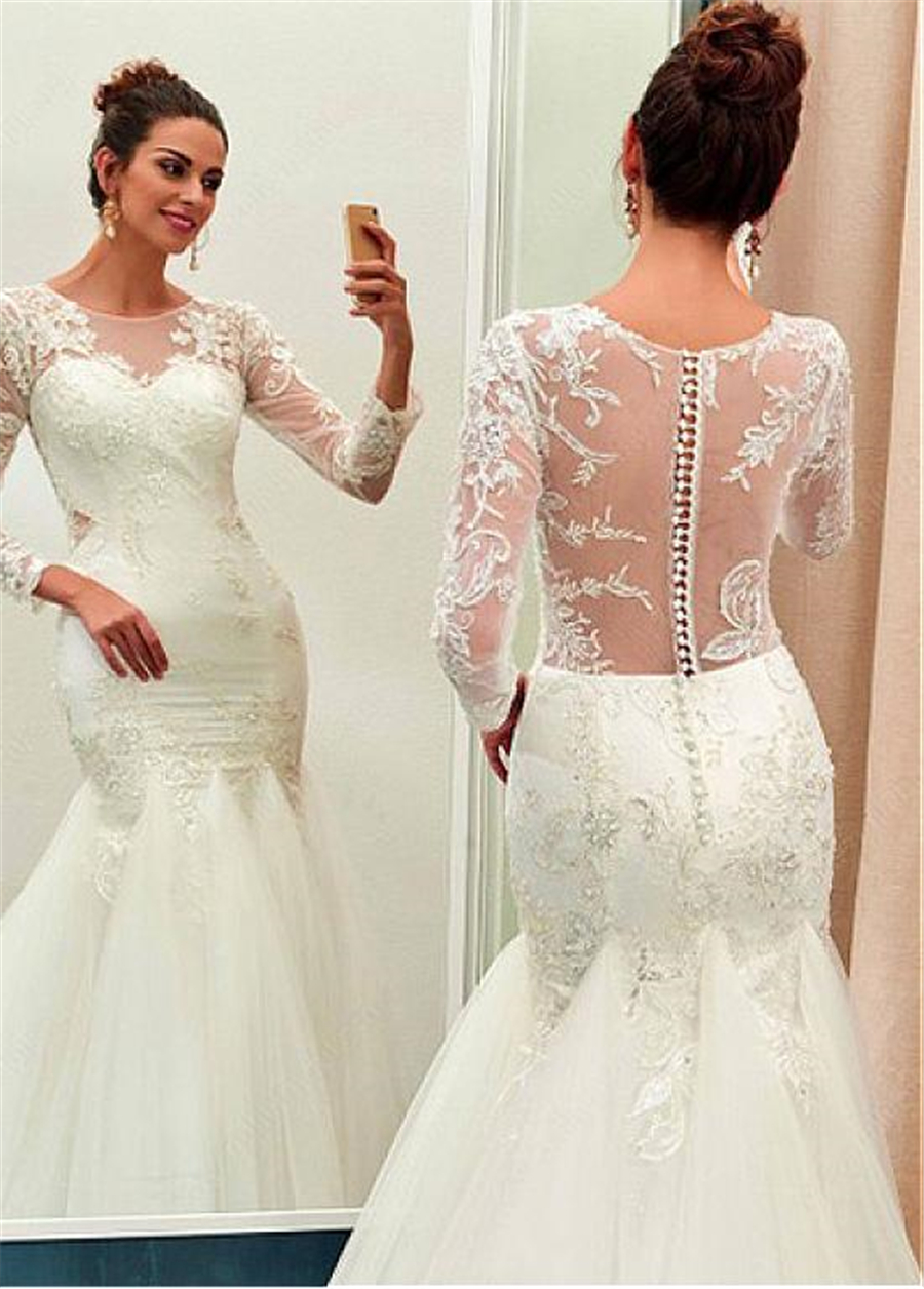 Chic Tulle Jewel Neckline Mermaid Wedding Dress With Beaded Lace Appliques Long Sleeves See Through Bridal Dresses-in Wedding Dresses from Weddings & Events