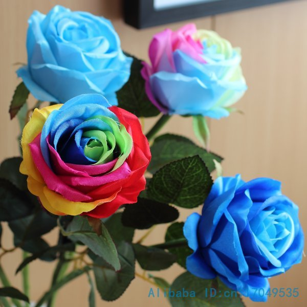 1 pcs single stem fake colorful silk flower artificial rainbow rose 1 pcs single stem fake colorful silk flower artificial rainbow rose wedding home decoration gift f310 in artificial dried flowers from home garden on mightylinksfo