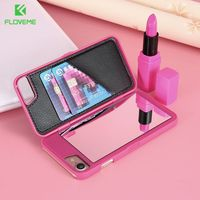 Luxury Makeup Mirror Flip Case For IPhone 7 7 Plus Card Slot Hard Protective Cover For