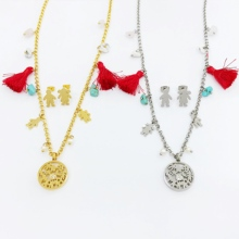 Family Love Mama Necklaces Stainless Steel Pendant Boy Girl Mothers Fathers Tassels Natural Stone Necklace Earings Jewelry Sets