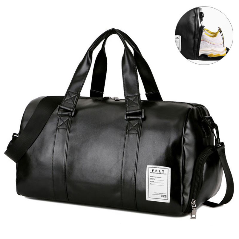 17L/33L Gym Bag PU Leather Portable Sport Training Bag With Shoes Storage Fitness Yoga Outdoor Travel Luggage Shoulder Tote Bag