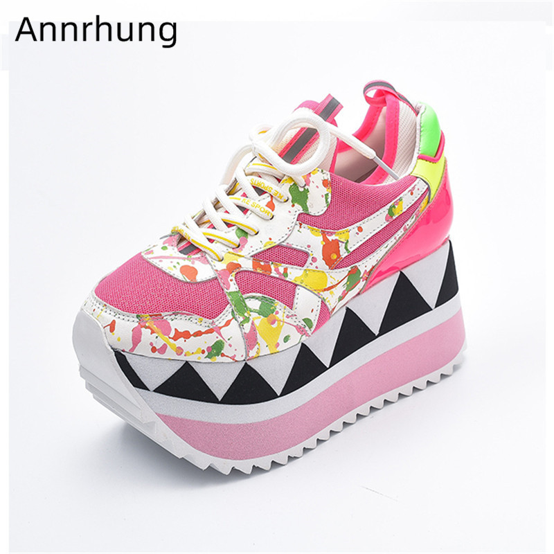 Mixed Color Platform Sneakers Women Bling Sequin Thick Bottom Shoes Round Toe Lace Up Ladies Sneakers High Platform Shoes Woman(China)