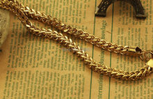 "Never Fade 6mm 24"" Pure Stainless Steel Gold Square Link-chain Necklace Men's New Jewelry"