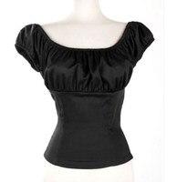Woman Rockabilly Design S 7XL Plus Size Shirt Off Shoulder Ruffled Sexy Black White Blouse Low