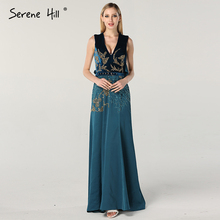 Dubai Design Blue V-Neck Beach Evening Dresses Serene Hill