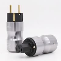 24K Gold Plated Europe Standard Male Mains AC Power Plug Audio HIFI European Famale Power Supply Socket