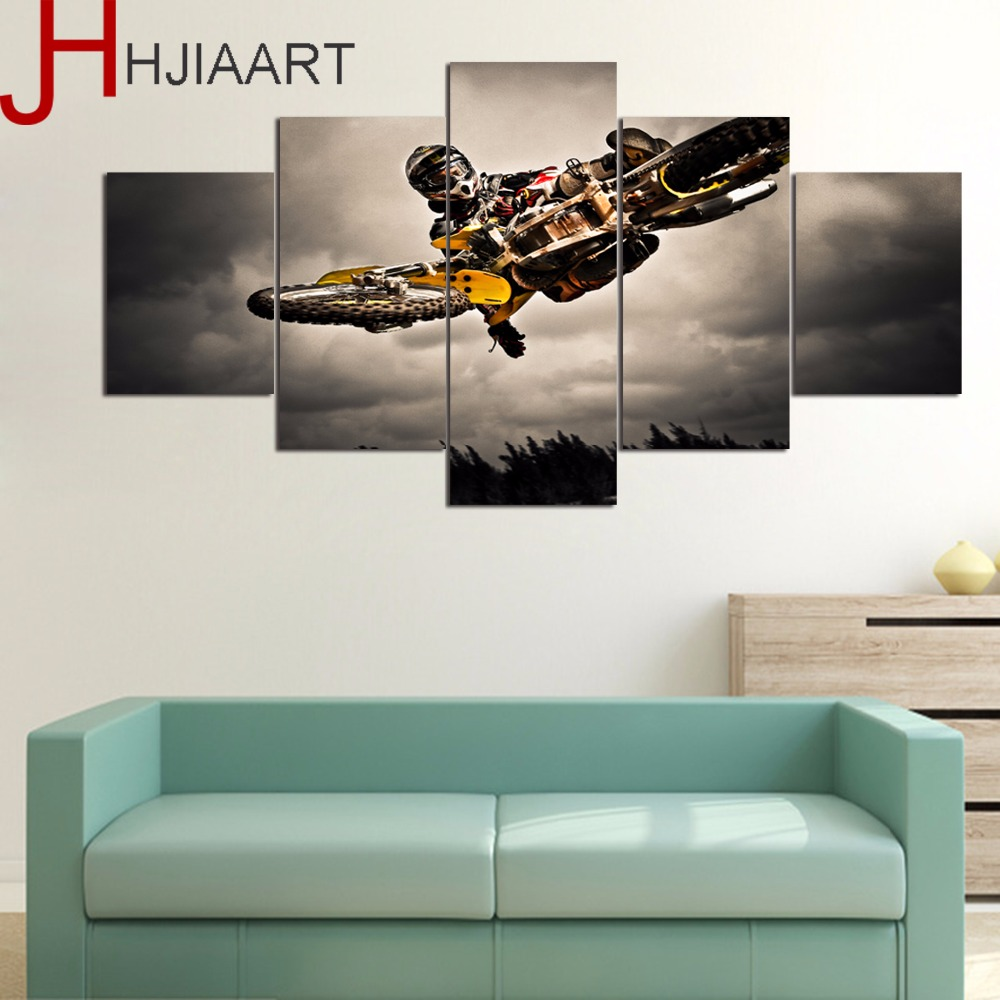 HJIAART 5 Panels Motorcycle Race Painting for Living Room Sports Framed Game Wall Art Picture Gift Home Decoration