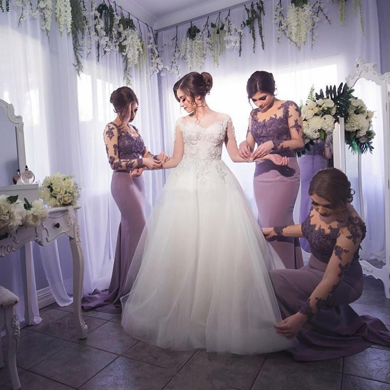 Lilac Bridesmaid Dresses Long Sleeves Floor Length Illusion Neck Mermaid Bridesmaid Dresses Long Vestido Dama De Honor