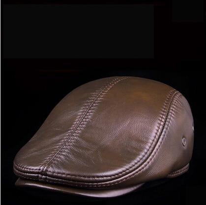 Fashion Sheepskin Military Cadet For Man Genuine Leather Mens Baret Cowhide Flat Cap Cabby Hat