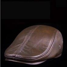 Fashion sheepskin cadet for man genuine leather mens Baret Cowhide Flat Cap Cabby Hat Vintage Newsboy Ivy Driving cap