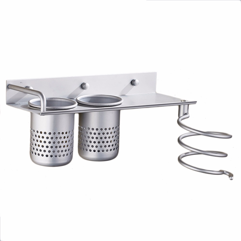2017 Hot Wall Mounted Hair Dryer Comb Holder Rack Stand Set Stainless Steel Storage Organizer Bathroom Accessories with 2 Cups