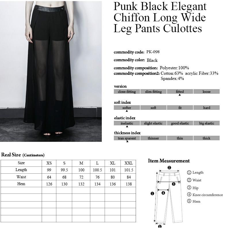 646449edf1 PUNK RAVE negro elegante larga de la gasa de pantalones anchos de la pierna  culottes ...