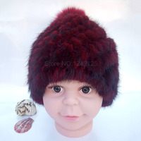 New winter kids children mink hat girl genuine fur knitted striped warm with fox ball real mink fur weave hats caps headgear hot