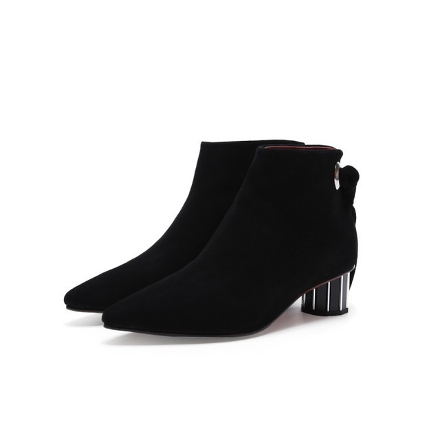 European Designer Suede Black Lady Ankle Boots Chic Back Bowtie Pointy  Mid-heel Women Fashion Winter Shoes 364d681ca05f
