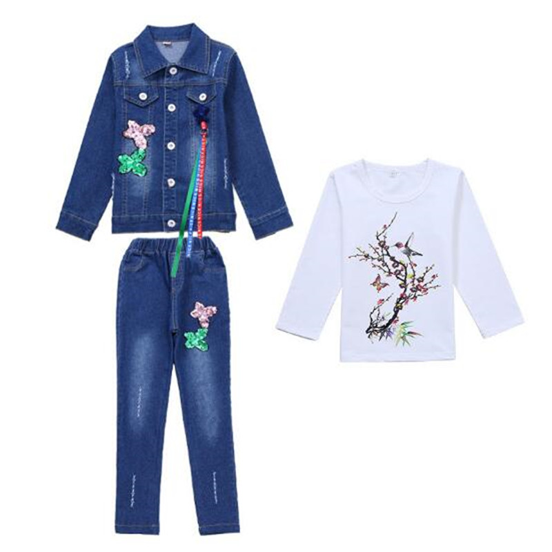 Kids Spring Clothing Sets Girl Clothes Suits Denim Outfits For Girls Tracksuit Children Suit Jacket + Jeans Shirts Flowers 4 15T|Clothing Sets|   - title=