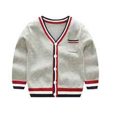 Vinnytido Children Sweater Christmas Single Breasted Boys Sweaters V-Neck Knitting Cardigan Striped