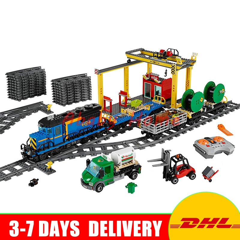 DHL Lepin 02008 959PCS City Explorers Cargo Train DIY Building Blocks Bricks educational Toys for children Gifts Clone 60052 lepin 02008 the cargo train 959pcs city series legoingly 60052 plate sets building nano blocks bricks toys for boy gift
