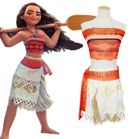 2017 Women Kids Movie Moana Princess Dress Cosplay Costume Children Halloween Girls Party Christmas Gift Adult
