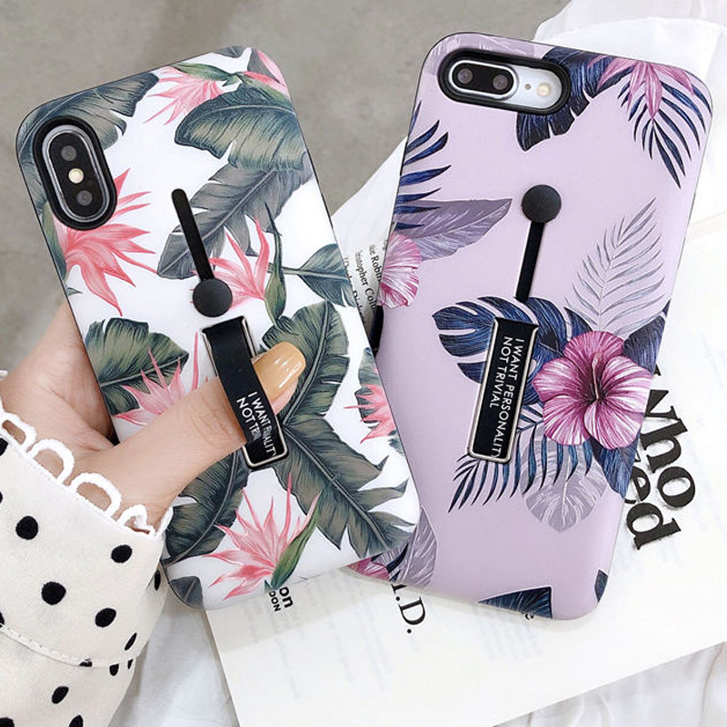 Loop Ring Phone Case for Apple iPhone XR XS X 6 6S 7 8 Plus Fashion Flower Leaves Hide Ring Holder Stand Cover for iPhone XS Max
