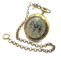 Antique Style Copper Open Face Double Roman Number Skeleton Steampunk Mens Mechanical Pocket Watch W Chain