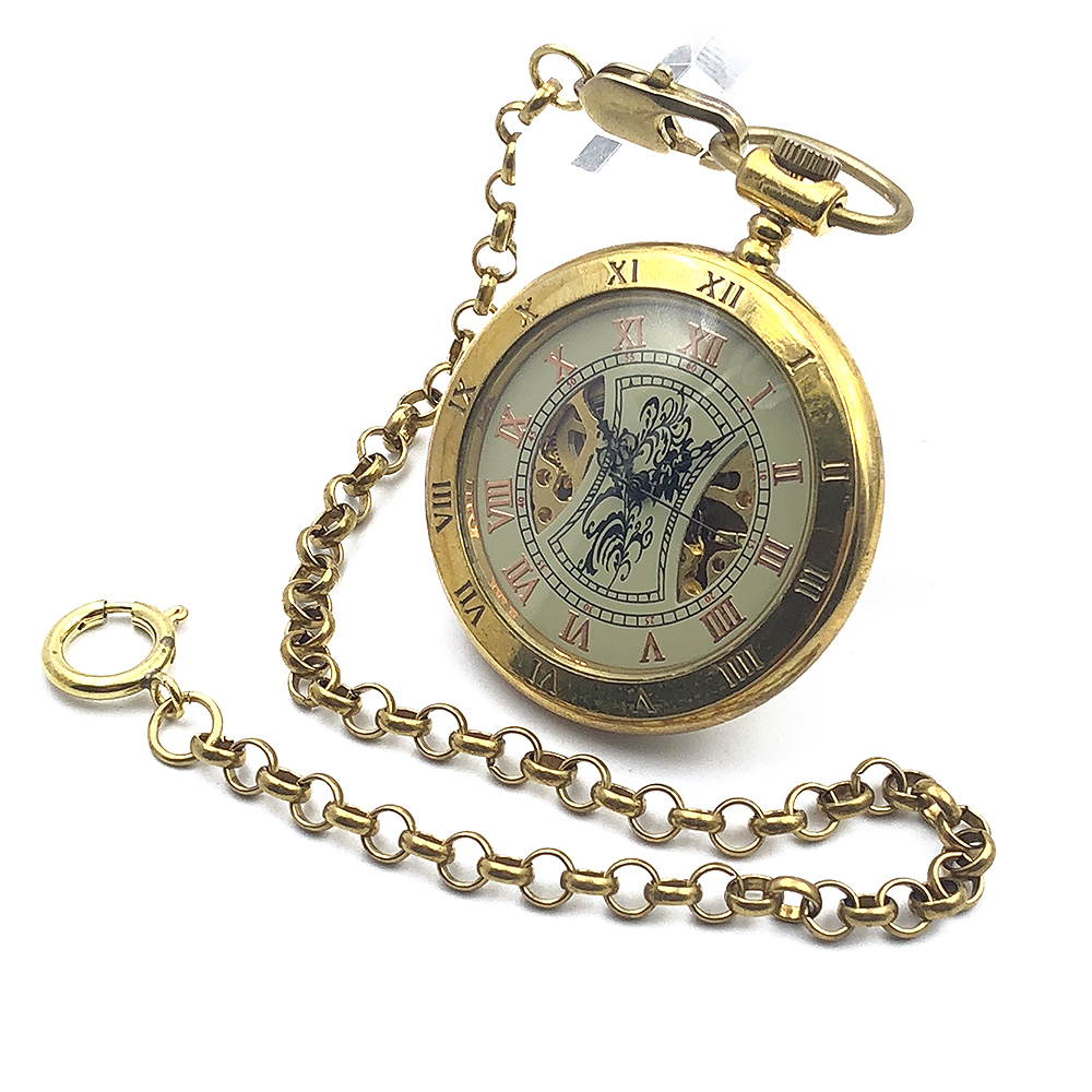 Antique Style Copper Open Face Double Roman Number Skeleton Steampunk Mens Mechanical Pocket Watch w/Chain Nice Gift old antique bronze doctor who theme quartz pendant pocket watch with chain necklace free shipping