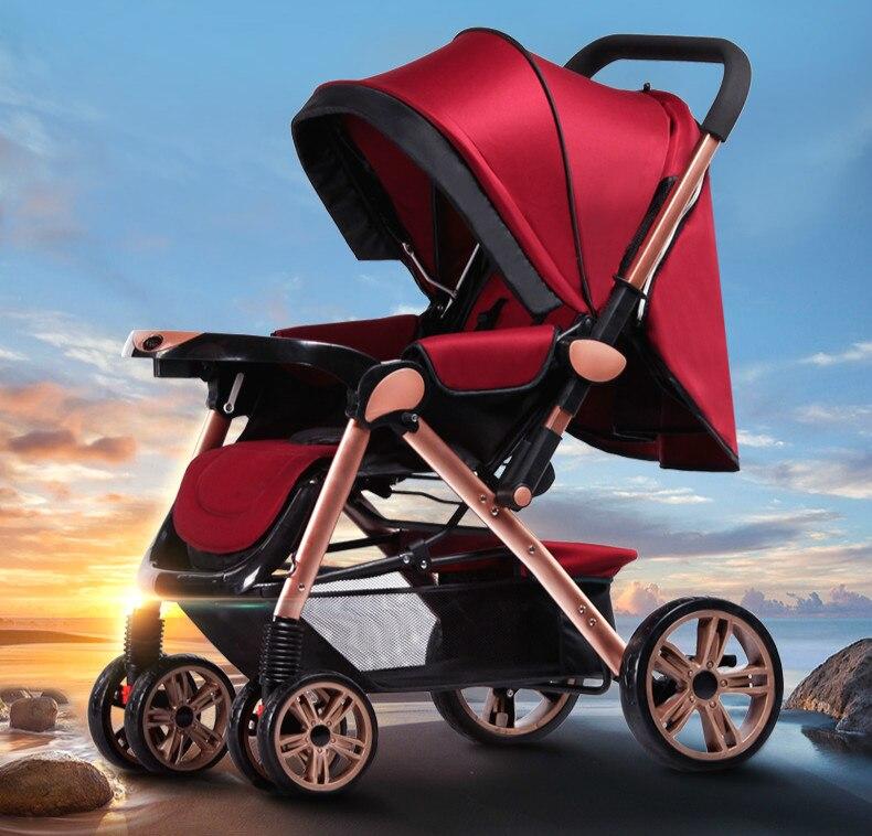 Baby stroller high landscape foldable 4- wheel suspension baby stroller portable baby cart