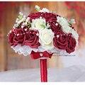 Бордовый и Белый Ручной Работы Декоративные Искусственные Цветы Розы свадебный букет Невесты Свадебное Кристалл Кружева Акценты Свадебные Букеты