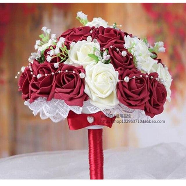 Bridal bouquet burgundy white handmade decorative artificial rose bridal bouquet burgundy white handmade decorative artificial rose flowers bride bridal crystal lace accents wedding mightylinksfo