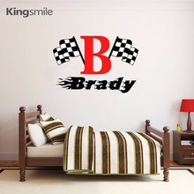 Checkered Flag Racing Monogram Custom Name Wall Sticker Decals Nursery Vinyl Graphics Wall Stickers for Boys Rooms Home Decor