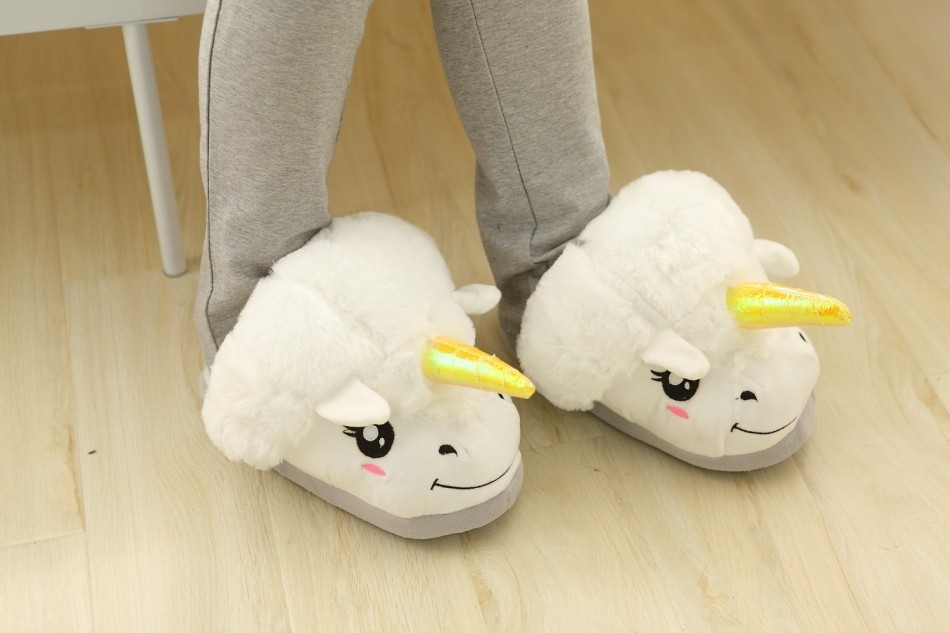Unicorn Slippers Home Plush Bedroom Slipers Indoor Shoes Novelty