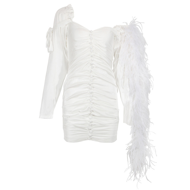 Chic Silk Feather Dress KylieJenner Night Out Off-the-shoulder Button Embellished Skintight White Mini Party Clubwear Sexy Frock 3